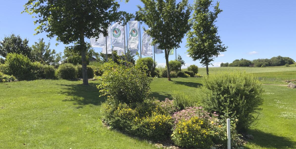 Golfplatz des Jura Golf Park mit Fahnen